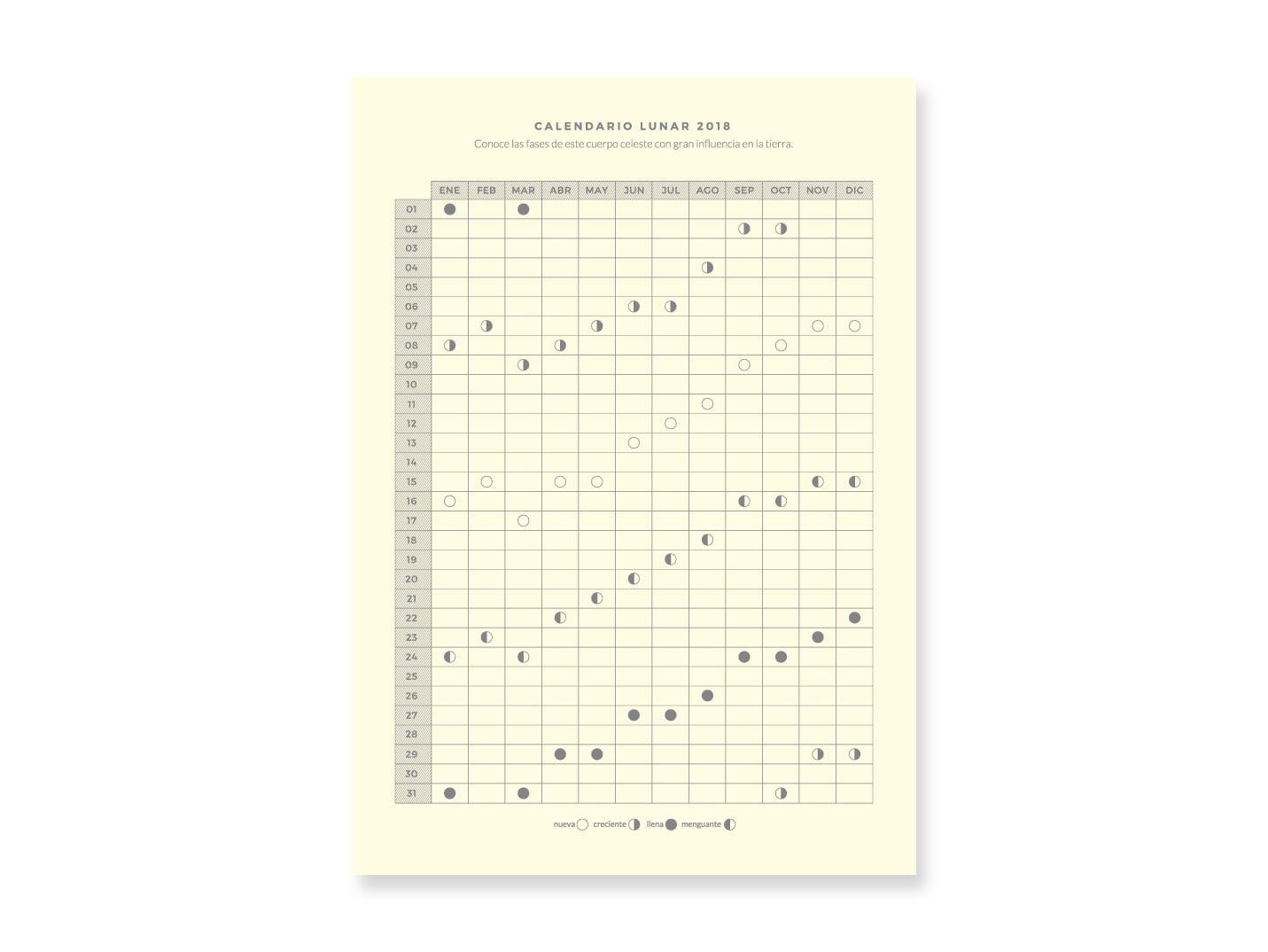 Descargable Calendario Lunar 2018 Dulce Compañía